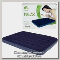 Кровать Relax Flocked air bed queen 203х152х22 синий