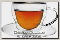 Набор кружек THERMOS Double glass cups двойное стекло с блюдцем 0,3л