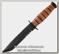 Нож Ka-Bar 1252 Short USMC сталь 1095 серрейтор рукоять кожа